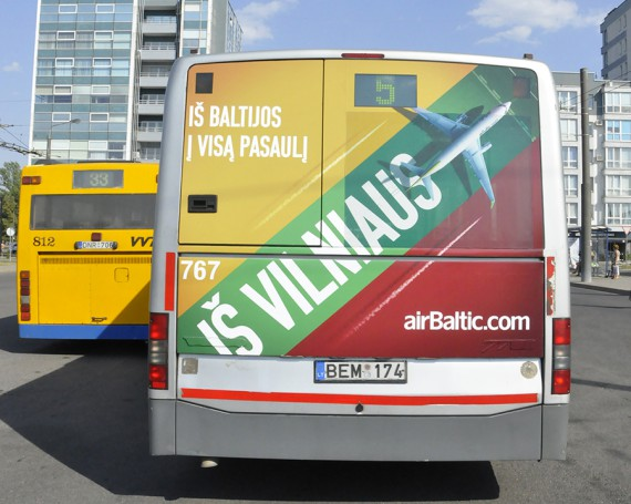 Airbaltic campaign on back of buses