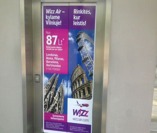 Wizzair campaign on business centers elevators