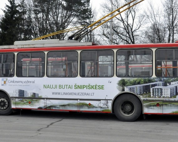 Linkmenų ežerai advertising on public transport