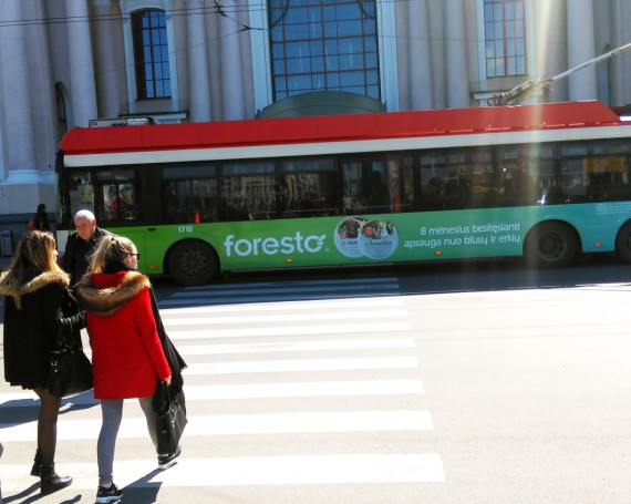 Foresto advertising campaign on trolleybuses