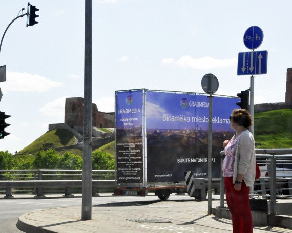 Advertising trailer in Lithuania.