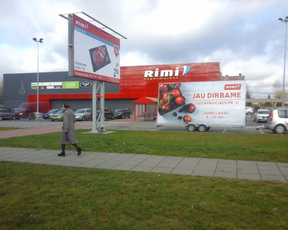 Rimi advertising trailer in Kaunas