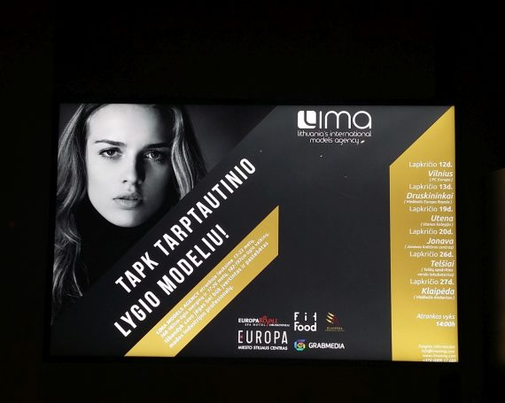 Model agency advertising in LED frames at sport clubs