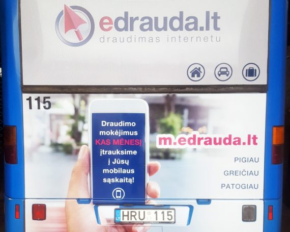 Edrauda.lt advertising on buses