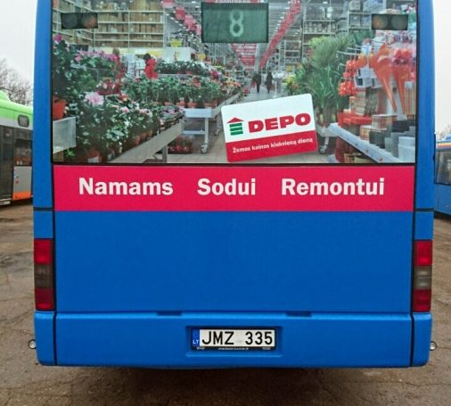 DEPO advertising on bus back's in Klaipeda
