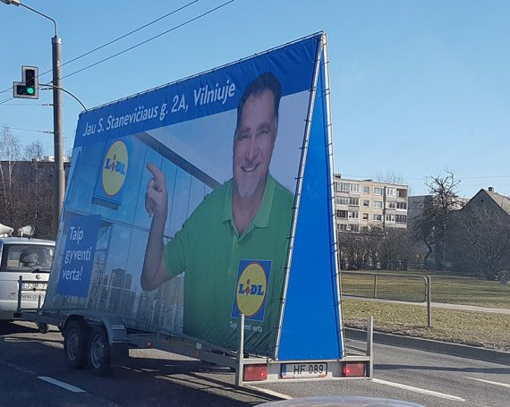 LIDL advertising trailer in Vilnius
