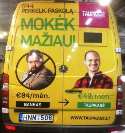 Taupkase advertising on buses in Kaunas