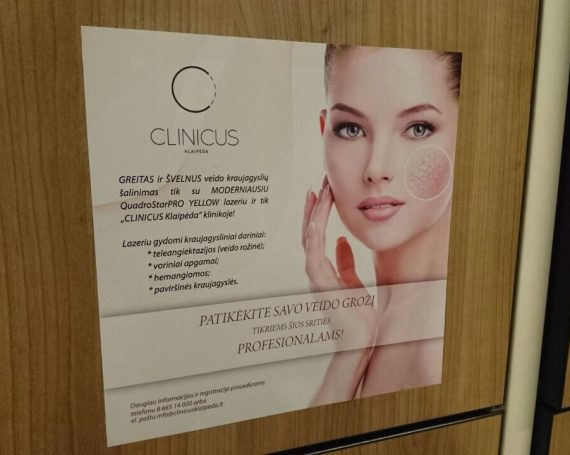 Clinicus advertising at Impuls gym club in Klaipeda