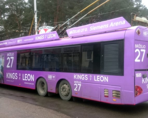 Kings of Leon concert ad on trolleybus