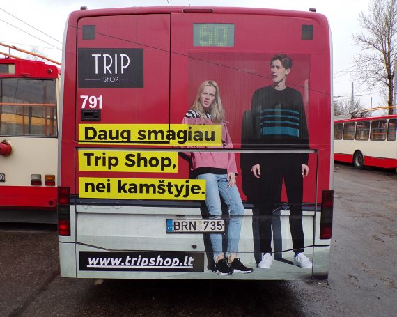 TRIP Shop ad on back's of buses