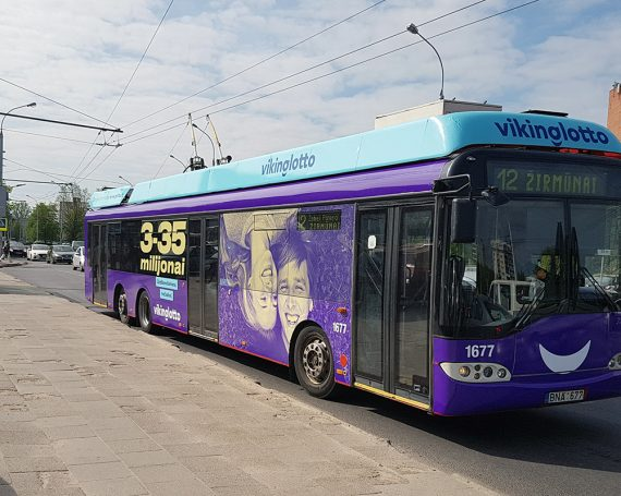 Viking Lotto ad on public transport in Lithuania