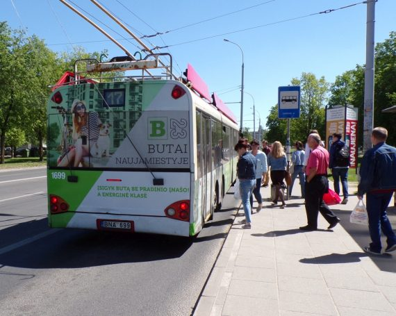Hanner B23 flats advertising on trolleybus
