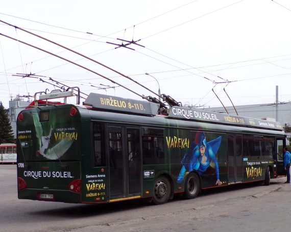 Cirque Du Soleil advertising on trolleybus