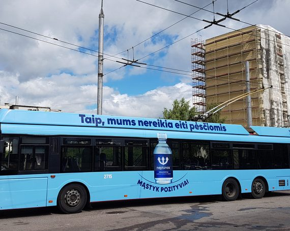"""Neptunas"" water advertising on public transport"