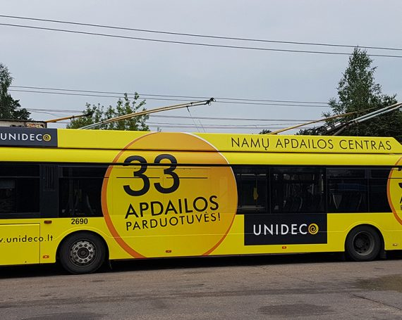 Unideco advertising on trolley bus in Vilnius