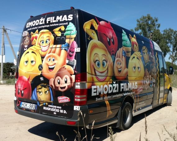 Emoji movie advertising on public transport