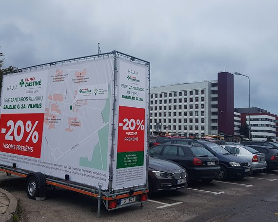 Eurovaistinė pharmacy shop advertising on trailer
