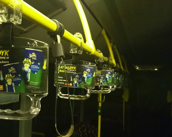 Sprite drink's advertising in public transport handles