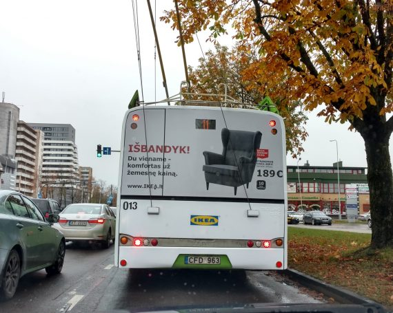 IKEA advertising on trolleybuses in Kaunas