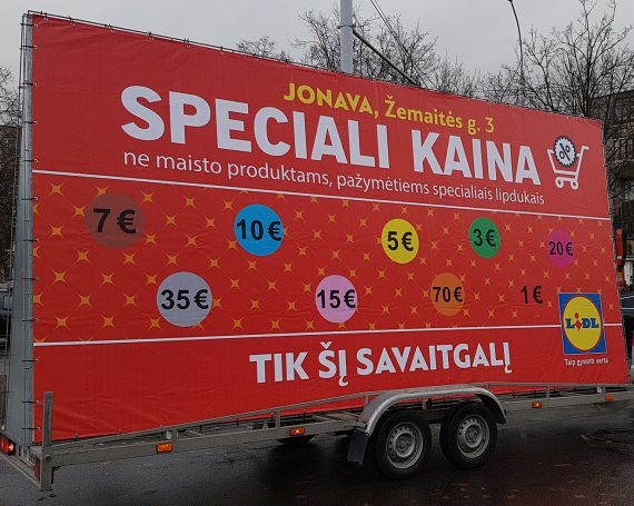 LIDL advertising trailer in Jonava