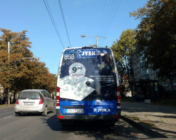 JYSK advertising on public transport back's in Lithuania
