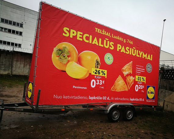 LIDL advertising trailer in Telsiai