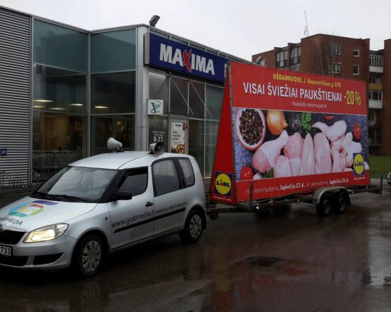LIDL advertising trailer in Kedainiai