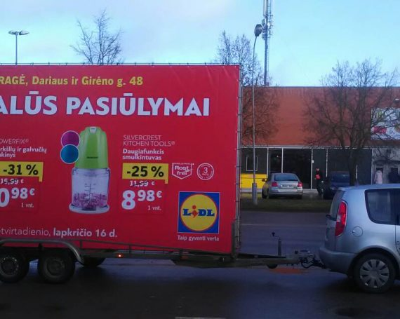 LIDL advertising trailer in Taurage