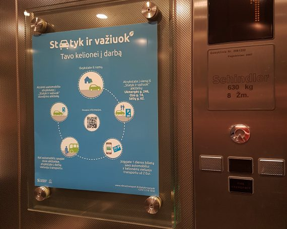 Transportation services advertising in elevator frames