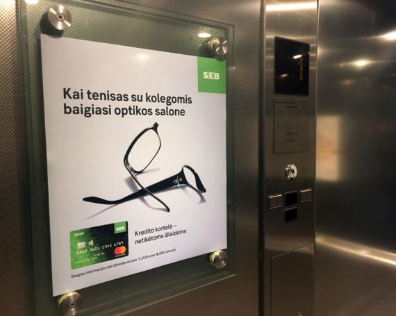 SEB bank advertising in business center lifts