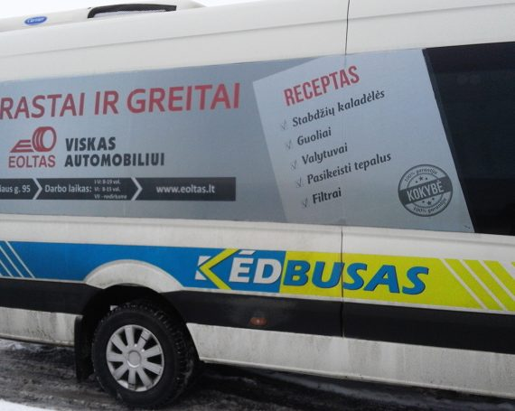 Eoltas client advertising on public transport in Kedainiai