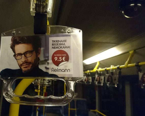 Fielmann advertising in public transport handles