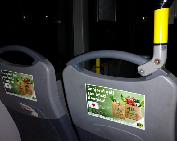 IkI advertising on seat's stickers in public transport