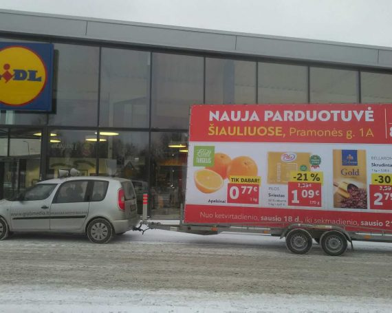 LIDL advertising trailer in Siauliai