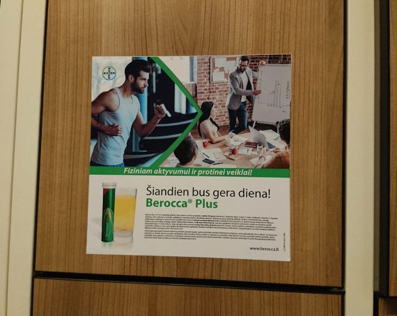 Berocca advertising in Lithuanian gym clubs