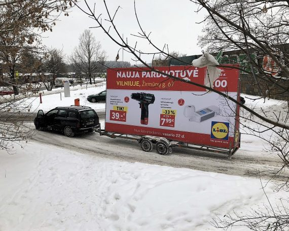 LIDL advertising trailer in Vilnius, Kaunas and Klaipeda