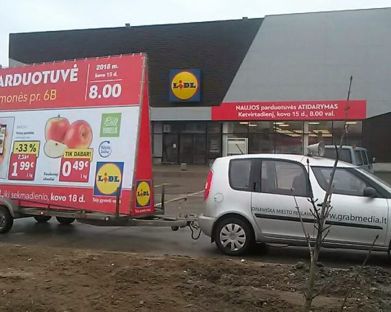 LIDL advertising trailer in Kaunas