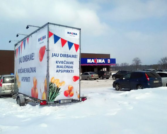 Maxima advertising trailer in Vilnius