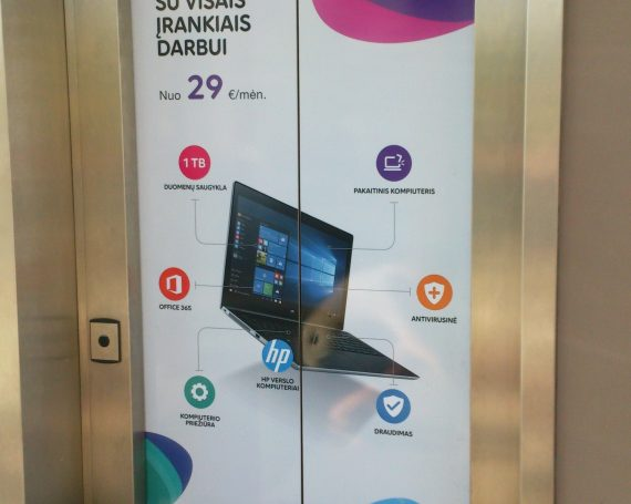 Telia advertising on elevators in business center