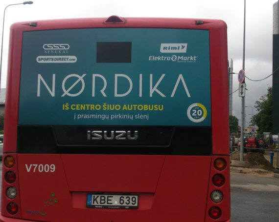 Nordika shopping mall advertising on buses