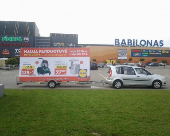 LIDL advertising trailer in Panevezys