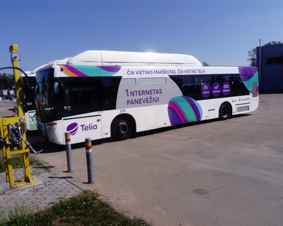 Telia ad on public transport in Lithuania