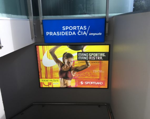 Sportland client's ad in LED frames in gym clubs