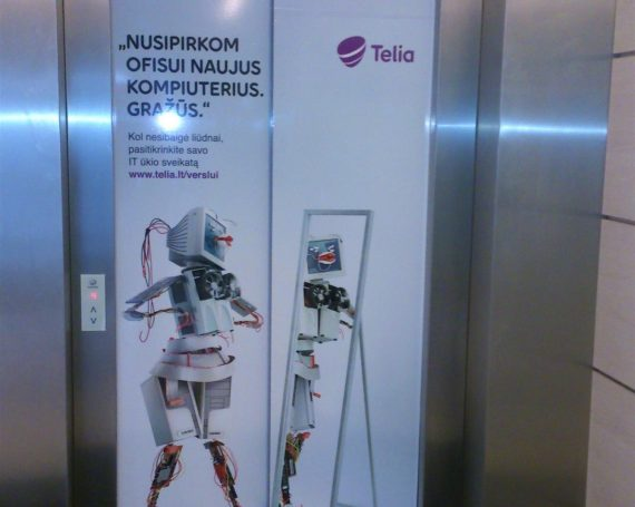 Telia client's advertising on elevators in business centers