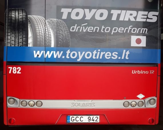 Tyres advertising on public transport back's