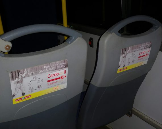 Cardoval advertising on seats in public transport