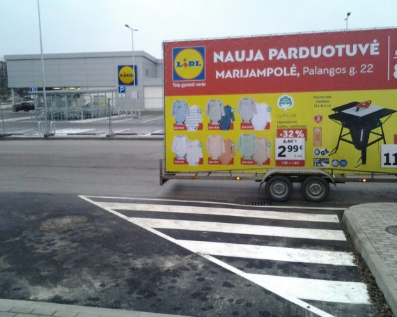 LIDL ad on advertising trailer in Marijampole