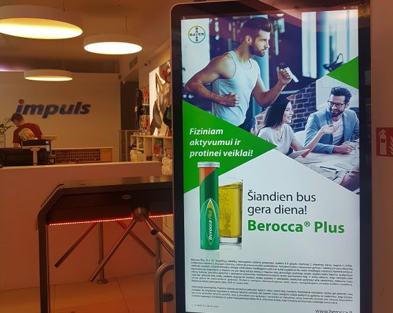 Berocca advertising in Impuls video screens