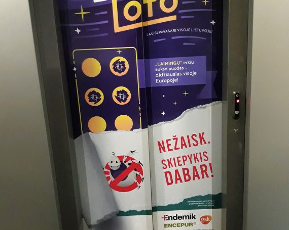 Erkių Loto advertising in business centers