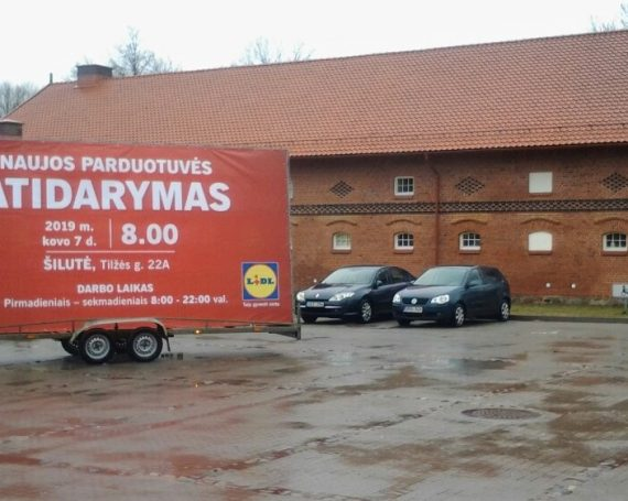 LIDL advertising trailer in Silute